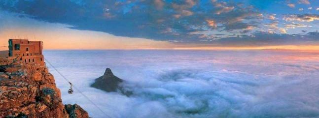 Lions Heads covered in cloud - a view from atop Table Mountain 10 min drive away