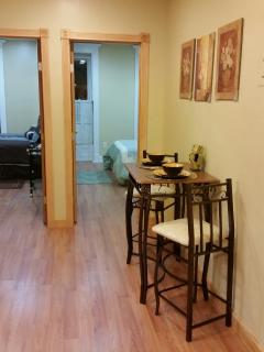 open space between dining area