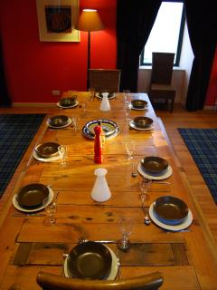 The dining table seats 12 comfortably