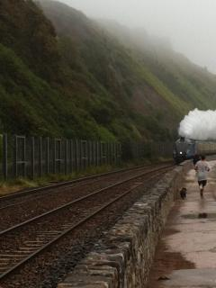 Steam train pulling into Teignmouth