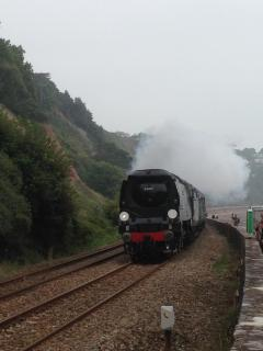 Steam train seen from the sea wall at Teignmouth