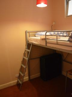 Second internal bedroom has a small double loft bed. Fold out single bed and cot are also available
