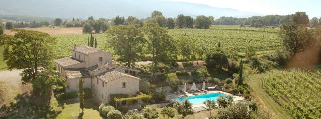 Aerial view of Casale Del Sole set in Vineyards and gardens