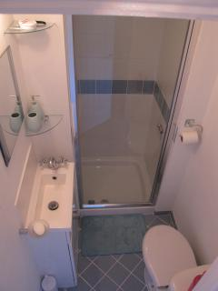 compact shower room, powerful roomy shower, newly installed