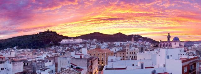 Sunset over the old town of Oliva (2km inland.)