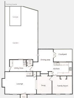 Floor plan of ground and garden