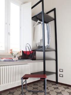 Open wardrobe and desk