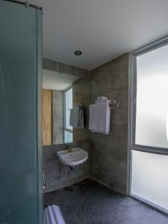 The en-suite bathroom with shower