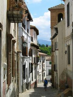 the apartment´s street in the Albaicin, a UNESCO world heritage site