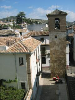the apartment overlooks a quite square with a 10th century minaret