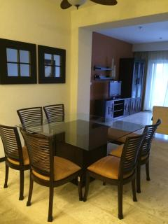 view of dining area and living room from kitchen