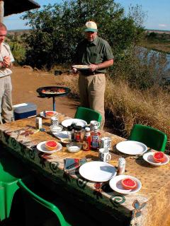 Breakfast in the Kruger overlooking a water hole