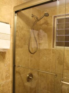 newly renovated bathroom with walk-in-shower