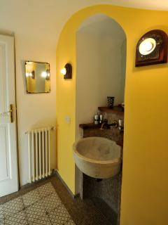 small bathroom on the stairs