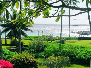 Manualoha 104, Beautifully decorated ocean view condo steps from Brennecke`s Beach. Sleeps 5. Free car* with stay of 7 nights or more., Poipu