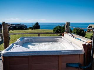Enjoy private hot tub & spectacular ocean views in this dog-friendly home!