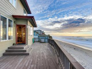 Roaring waves at this oceanfront, family-friendly beach rental