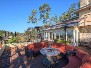 Large comfortable outdoor space for lounging and dining.  Panoramic ocean view.