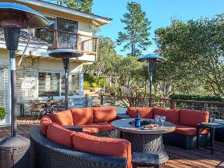 Outdoor area includes propane heaters and a gas fire-pit.
