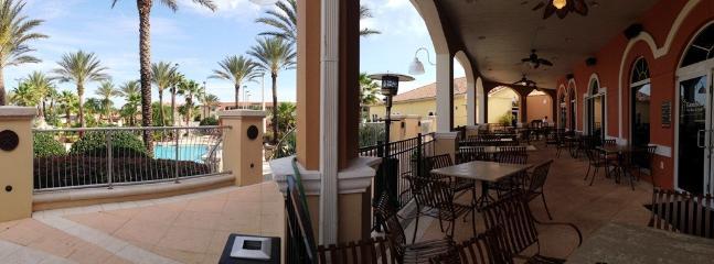 Restaurant patio overlooking pool area