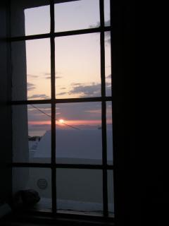 view of the sunset from inside