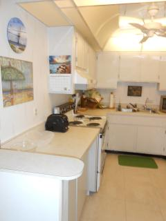 Kitchen with new refrigerator, micro wave oven, and garbage disposal