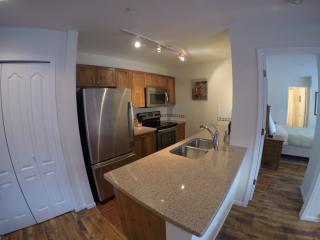 fully equipped kitchen with new stainless steel appliances & granite countertops