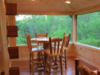 dining area on glassed in porch