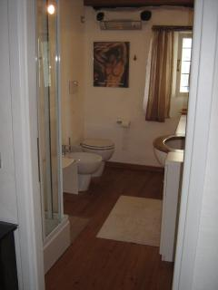 Adjourning bathroom to loft master bedroom, with sauna shower, WC, bidet & washbasin.