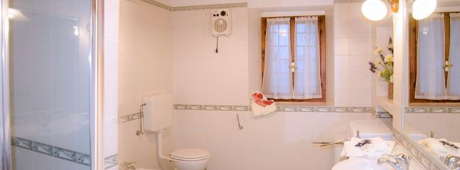 ground floor bathroom with shower bidet and washing machine