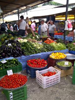 Market day with local fruits and vegetables every saturday