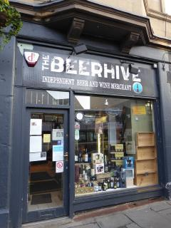 The Beer Hive - one of Edinburgh's best specialty beer shops is one minutes' walk from the flat