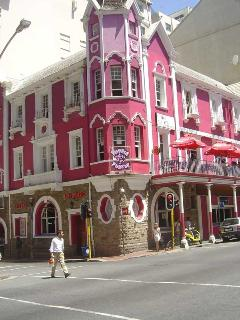 Original Victorian building - all dressed in party pink
