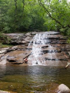 Local Waterfall and Swimming Hole - one of three nearby - will share all the local fun scoop
