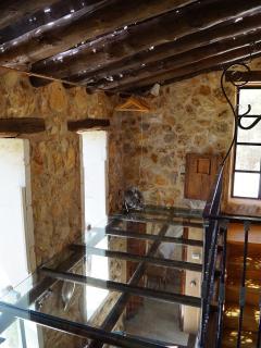 first floor gallery with transparent floor