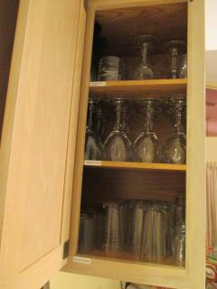 LOTS of KITCHEN glassware- juice/water, asstd. wine, shot + plastic juice or wine glasses!