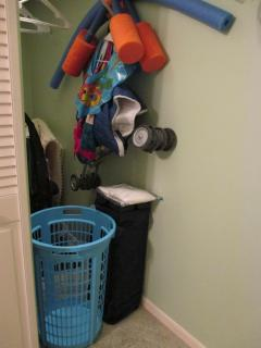 BR#2 closet: Play'n Stay crib/sheet, iron/board, vacuum, blankets, toddler stroller + hangers!