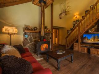 The Powder Pad's cozy wood burning stove in the living area