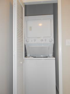 You don't need to bring your whole closet there is a washer and dryer