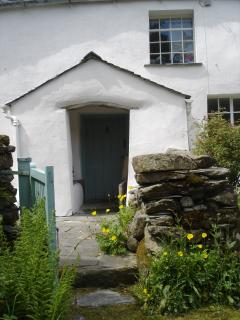 Longthwaite Farmhouse front porch from the garden