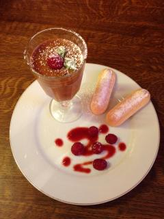 Evening meals at Le Petit Chateau ~ Dessert ~ Chocolate Mousse, fresh raspberries and sponge fingers