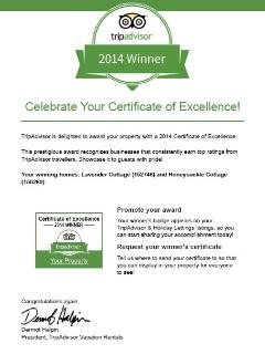 Certificate of Exelence 2014 Lavender cottage