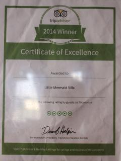 Certificate of Excellence 2104 Villa Voted most Popular Villa by Guests