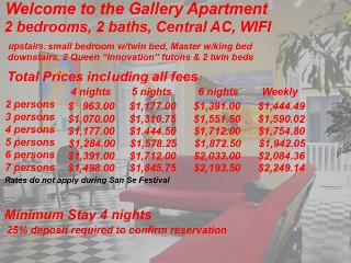 2 Prices for the Gallery Apartment