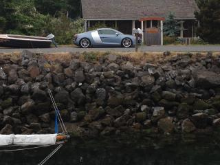 Like having your own marina, water is so close - Pose is low tide. sorry you can't drive the car.
