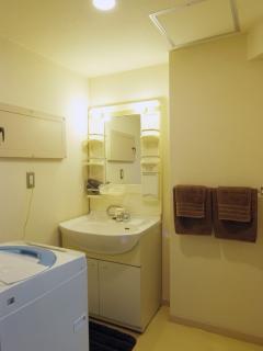 Washing basin, Washing machine, Hair dryer, towels