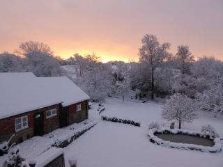 Back garden of Church Farm which can be used by guests. Snowy day in Kniveton