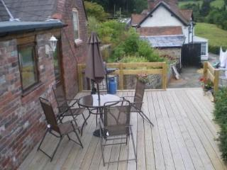 Large Decking Area with magnificent views of Dee Valley