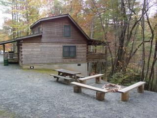 Private Log Cabin-Boone 15 min/Hot Tub/WiFi/Hiking/Fishing/Picnic/Fireplace/Pets