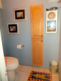 Upstairs Bathroom/ Water Closet with a pocket door for privacy.